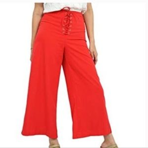 🌼DO+BE red lace up crop palazzo pants